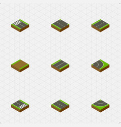 Isometric road set of strip pedestrian single vector