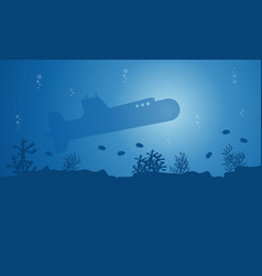 Landscape of submarine on ocean silhouettes vector
