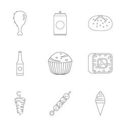 Mealy icons set outline style vector