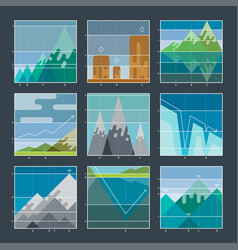 mountain infographic diagrams and charts icons vector image vector image