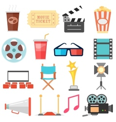 Movie and Film icon set vector image vector image