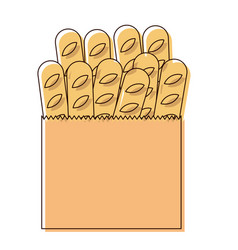 Paper bag with french breads in watercolor vector