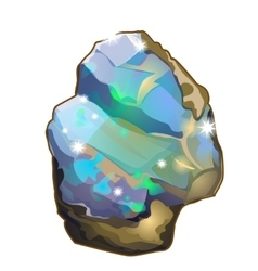 Piece of crystal opal or moonstone isolated vector