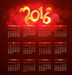 red golden 2016 calender vector image