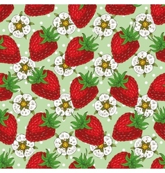 Seamless pattern with strawberry and flowers vector
