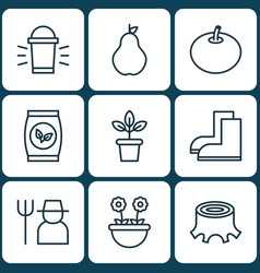 Set of 9 plant icons includes grower duchess vector