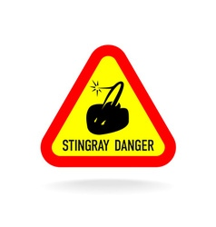 Stingray warning symbol triangle sign with vector