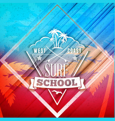 Surfing school and rental summer badge vector