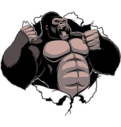 The fierce gorilla shouts vector image vector image