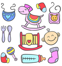 toy various style baby doodles vector image vector image