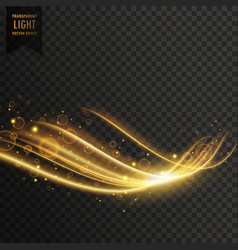 transparent golden light effect with glitter vector image vector image