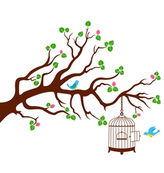 Tree Branch with bird cage and two birds vector image