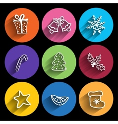 Trendy Christmas Icons With Long Shadow vector image