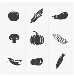 Vegetable black icon set on white vector