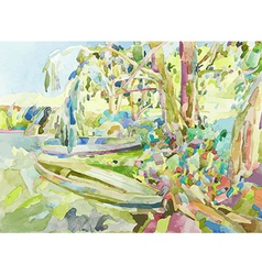 watercolor painting of summer landscape vector image vector image