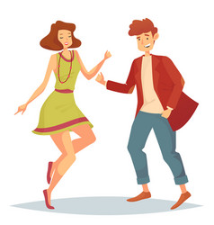 woman jumping at dancefloor and man dancing vector image