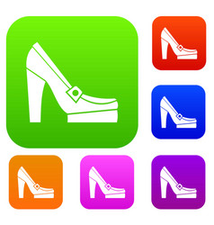 women shoes on platform set collection vector image