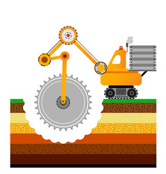 yellow bulldozer is digging the earth mining vector image vector image