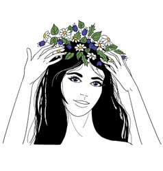 Young woman with flower wreath vector image