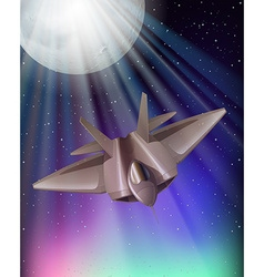 Fighting jet flying at night vector