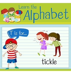 Flashcard letter T is for tickle vector image