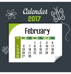 Calendar february 2017 template icon vector