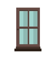 Colorful silhouette with door of wood and glass vector