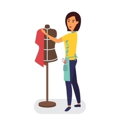 Tailor profession Clothing designer woman with vector image