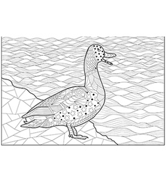 Duck on the shore of the river vector