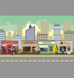 People walking in street city vector