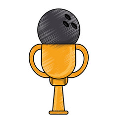 Drawing bowling winner cup prize vector