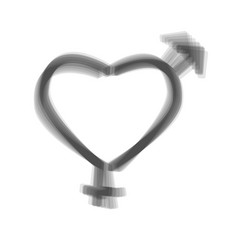 Gender signs in heart shape  gray icon vector