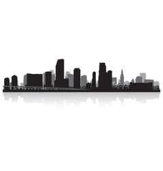 Miami usa city skyline silhouette vector