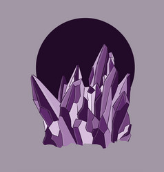purple crystals on a grey background eps 8 vector image