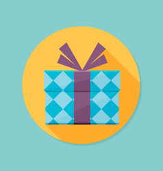 icon of gift box with long shadow vector image
