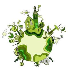 around the green bio world vector image