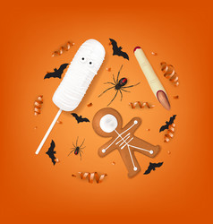 orange background with treats for halloween vector image