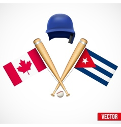 Symbols of baseball team canada and cuba vector