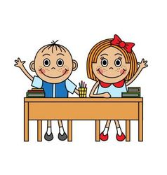 Cartoon children sitting at school desk vector