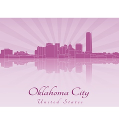 Oklahoma city skyline in radiant orchid vector