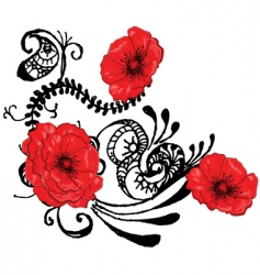 red poppies backgound vector image