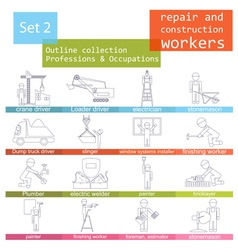 Professions and occupations outline icon set vector