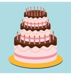 Birthday cake and desserts vector