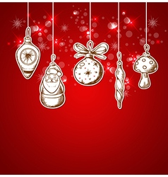 Red christmas background with decorations vector