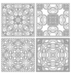 Set of unique coloring book square page for adults vector