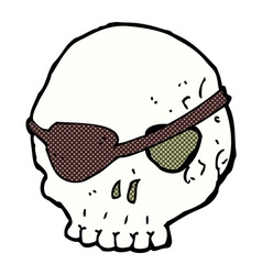Comic cartoon skull with eye patch vector