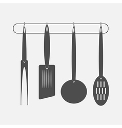 Monochrome icon set with kitchen vector