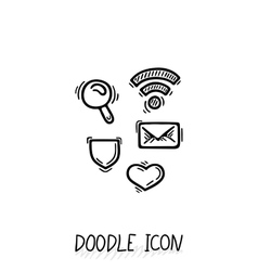 Set of doodle social icons search wifi vector