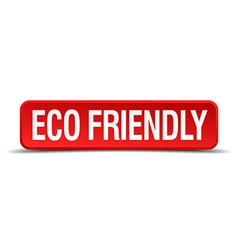 Eco friendly red 3d square button isolated on vector