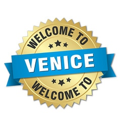 Venice 3d gold badge with blue ribbon vector